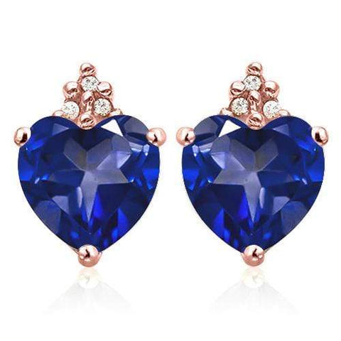 GENUINE SOLID 10KT ROSE  GOLD HEART SHAPE 2.55CT CREATED TANZANITE  AND 6 DIAMONDS EARRINGS STUD - Wholesalekings.com