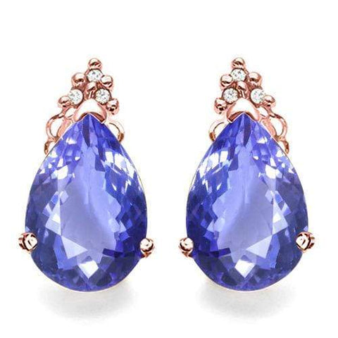 GENUINE SOLID 10KT ROSE  GOLD PEAR SHAPE 2.0CT CREATED TANZANITE  AND 6 DIAMONDS EARRINGS STUD - Wholesalekings.com