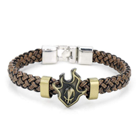 German Silver Braided Leather Bracelet for Men Cuff Bracelet - Wholesalekings.com