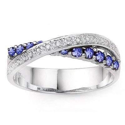 GLAMOROUS 0.46 CT GENUINE TANZANITE & 2 PCS GENUINE DIAMOND PLATINUM OVER 0.925 STERLING SILVER RING wholesalekings wholesale silver jewelry