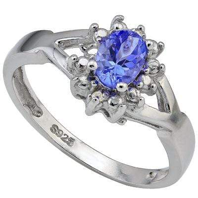 GLAMOROUS 0.50 CT GENUINE TANZANITE & 2 PCS GENUINE DIAMOND PLATINUM OVER 0.925 STERLING SILVER RING - Wholesalekings.com