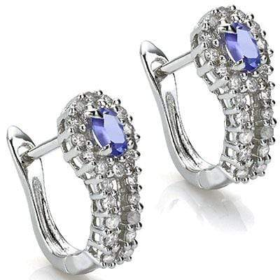 GLAMOROUS 0.65 CARAT TW (51 PCS) GENUINE TANZANITE & GENUINE DIAMOND 10K SOLID WHITE GOLD EARRINGS wholesalekings wholesale silver jewelry