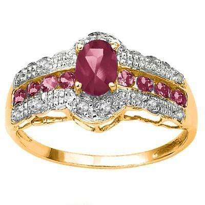 GLAMOROUS 0.75 CT AFRICAN RUBY & 8 PCS AFRICAN RUBY 10K SOLID YELLOW GOLD RING - Wholesalekings.com