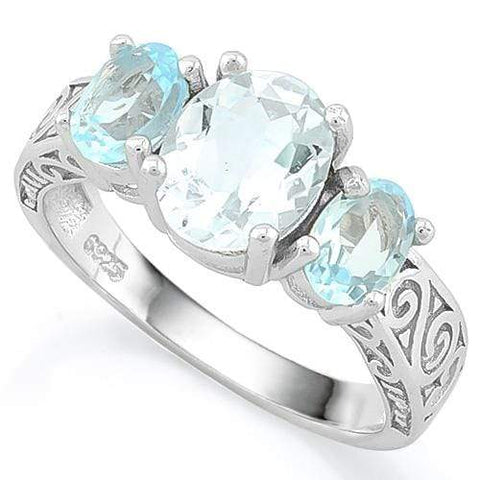 GLAMOROUS ! 1 1/2 CARAT AQUAMARINE & 2 1/3 CARAT BABY SWISS BLUE TOPAZ 925 STERLING SILVER RING wholesalekings wholesale silver jewelry