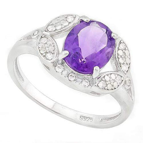 GLAMOROUS ! 1 3/5 CARAT AMETHYST & DIAMOND 925 STERLING SILVER RING - Wholesalekings.com