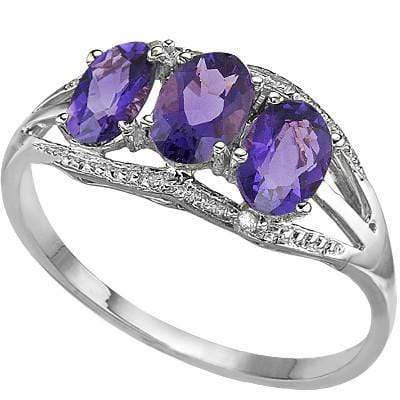GLAMOROUS 1.42 CT AMETHYST & 2 PCS WHITE DIAMOND PLATINUM OVER 0.925 STERLING SILVER RING wholesalekings wholesale silver jewelry