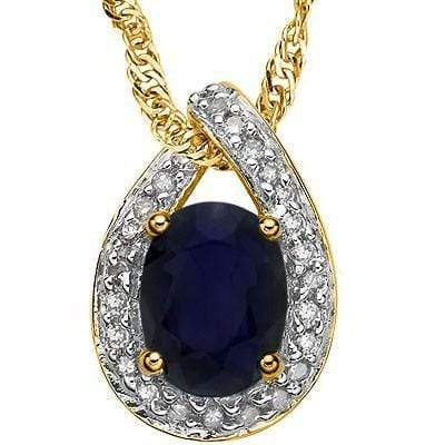 GLAMOROUS 1.62 CT CHANTHABURI SAPPHIRE & 25 PCS WHITE DIAMOND 10K SOLID YELLOW GOLD PENDANT - Wholesalekings.com