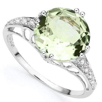 GLAMOROUS 2.51 CARAT TW (3 PCS) GREEN AMETHYST & GENUINE DIAMOND PLATINUM OVER 0.925 STERLING SILVER RING - Wholesalekings.com