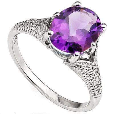 GLAMOROUS 2.55 CT AMETHYST & 2 PCS WHITE DIAMOND PLATINUM OVER 0.925 STERLING SILVER RING - Wholesalekings.com