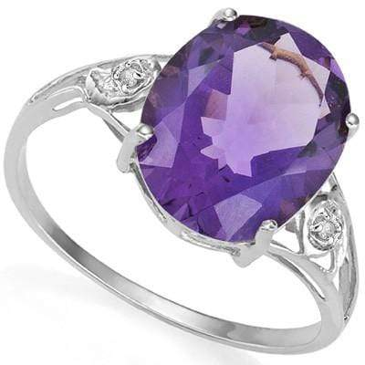 GLAMOROUS 3.16 CT AMETHYST & 2 PCS WHITE DIAMOND PLATINUM OVER 0.925 STERLING SILVER RING - Wholesalekings.com