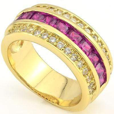 GLAMOROUS 3.30 CT CREATED PINK SAPPHIRE & 34 PCS CREATED WHITE SAPPHIRE 18K YELLOW GOLD OVER STERLING SILVER RING - Wholesalekings.com