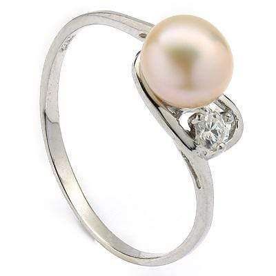 GLAMOROUS 3.50 CT PEACH PEARL & 1 PCS CUBIC ZIRCONIA PLATINUM OVER 0.925 STERLING SILVER RING wholesalekings wholesale silver jewelry