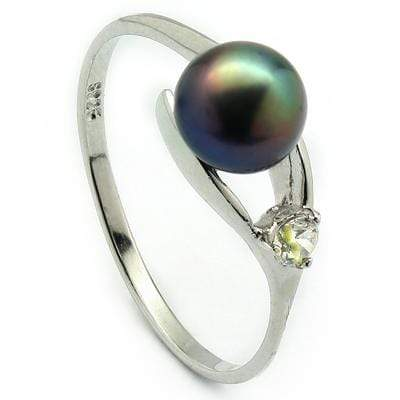 GLAMOROUS 3.50 CT PEACOCK BLACK PEARL & 1 PCS CUBIC ZIRCONIA PLATINUM OVER 0.925 STERLING SILVER RING - Wholesalekings.com