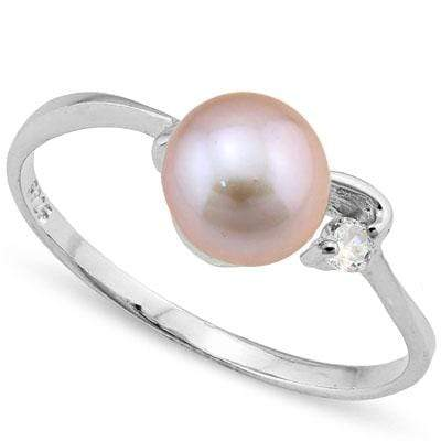 GLAMOROUS 3.50 CT PURPLE PEARL & 1PC CREATED WHITE SAPPHIRE PLATINUM OVER 0.925 STERLING SILVER RING - Wholesalekings.com