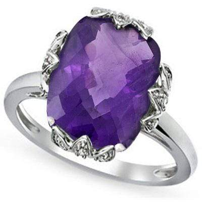 GLAMOROUS 4.80 CT AMETHYST & 2 PCS WHITE DIAMOND PLATINUM OVER 0.925 STERLING SILVER RING wholesalekings wholesale silver jewelry