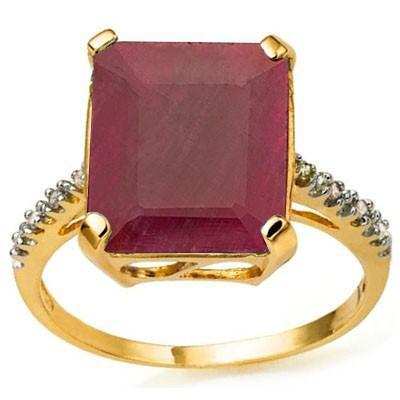 GLAMOROUS 6.86 CARAT TW (9 PCS) GENUINE RUBY & GENUINE DIAMOND 10K SOLID YELLOW GOLD RING wholesalekings wholesale silver jewelry