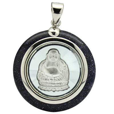 GLAMOROUS ROTATABLE BUDDHA INLAY +BLACK GOLDEN SAND WHITE GERMAN SILVER PENDANT - Wholesalekings.com