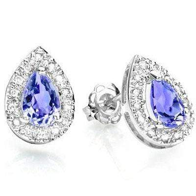GORGEOUS 0.65 CT GENUINE TANZANITE & 28 PCS GENUINE DIAMOND 9K SOLID WHITE GOLD - Wholesalekings.com
