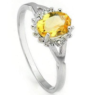 GORGEOUS 0.69 CT CITRINE & 2 PCS GENUINE DIAMOND PLATINUM OVER 0.925 STERLING SILVER RING - Wholesalekings.com