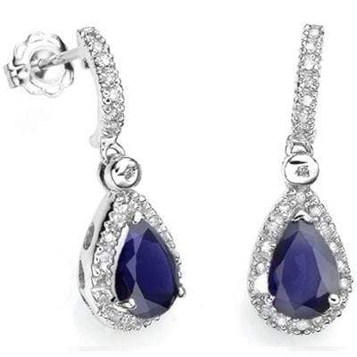 GORGEOUS 1.09 CT IOLITE & 48 PCS WHITE DIAMOND 10K SOLID WHITE GOLD EARRINGS wholesalekings wholesale silver jewelry