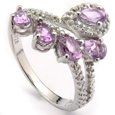 GORGEOUS 1.12 CT AMETHYST & 2 PCS WHITE DIAMOND 0.925 STERLING SILVER W/ PLATINUM RING - Wholesalekings.com