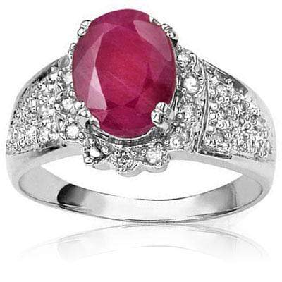 GORGEOUS 1.57 CT AFRICAN RUBY & 30 PCS WHITE DIAMOND 10K SOLID WHITE GOLD RING - Wholesalekings.com