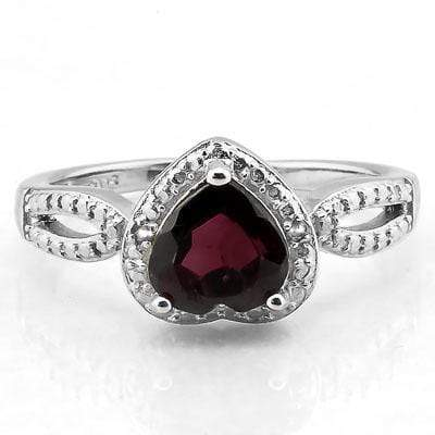 GORGEOUS 1.61 CARAT TW (3 PCS) GARNET & GENUINE DIAMOND PLATINUM OVER 0.925 STERLING SILVER RING - Wholesalekings.com