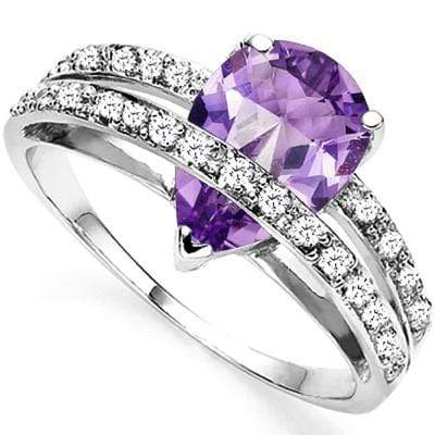 GORGEOUS 1.66 CT AMETHYST & 2 PCS WHITE DIAMOND 0.925 STERLING SILVER W/ PLATINUM RING wholesalekings wholesale silver jewelry