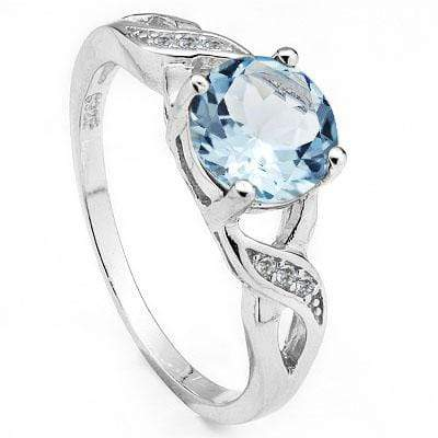 GORGEOUS 1.8 CARAT BLUE TOPAZ & CUBIC ZIRCONIA PLATINUM OVER 0.925 STERLING SILVER RING - Wholesalekings.com