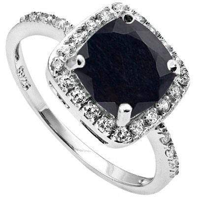 GORGEOUS 1.98 CARAT TW (25 PCS) GENUINE BLACK SAPPHIRE & CUBIC ZIRCONIA PLATINUM OVER 0.925 STERLING SILVER RING - Wholesalekings.com