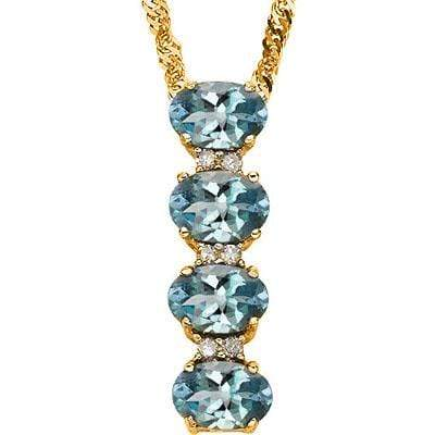 GORGEOUS 2.12 CT LONDON BLUE TOPAZ & 6 PCS GENUINE DIAMOND 10K SOLID YELLOW GOLD PENDANT - Wholesalekings.com