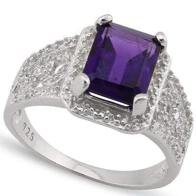GORGEOUS 2.201 CARAT TW  AMETHYST & GENUINE DIAMOND PLATINUM OVER 0.925 STERLING SILVER RING - Wholesalekings.com