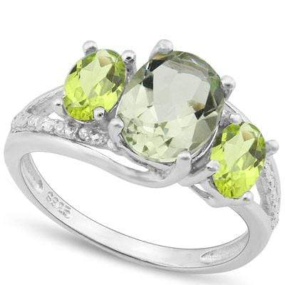 GORGEOUS 2.612 CARAT TW (5 PCS) GREEN AMETHYST & PERIDOT PLATINUM OVER 0.925 STERLING SILVER RING - Wholesalekings.com