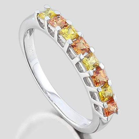 GORGEOUS ! 3/4 CARAT (8 PCS) SAPPHIRE (VS) 9KT SOLID GOLD BAND RING wholesalekings wholesale silver jewelry