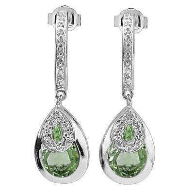 GORGEOUS 3.51 CARAT TW (4 PCS) GREEN AMETHYST & GENUINE DIAMOND PLATINUM OVER 0.925 STERLING SILVER EARRINGS - Wholesalekings.com