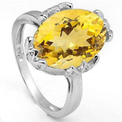 GORGEOUS 4.86 CARAT TW  CITRINE & GENUINE DIAMOND PLATINUM OVER 0.925 STERLING SILVER RING - Wholesalekings.com