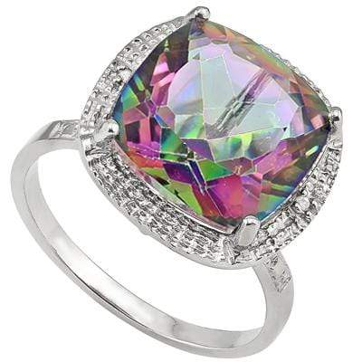 GORGEOUS 6.61 CT MYSTIC GEMSTONE & 2 PCS WHITE DIAMOND PLATINUM OVER 0.925 STERLING SILVER RING - Wholesalekings.com