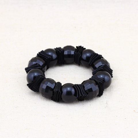 Gorgeous Black Faceted Beaded Linked German Silver  Bracelet wholesalekings wholesale silver jewelry