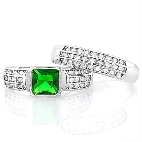 GORGEOUS ! CREATED EMERALD 925 STERLING SILVER RING - Wholesalekings.com