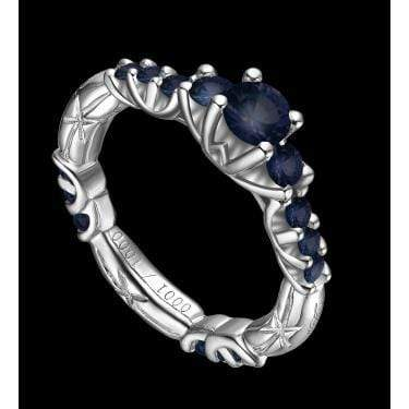 GORGEOUS LANDOUX 1.71 CARAT TW (15 PCS) GENUINE SAPPHIRE & GENUINE SAPPHIRE 14K SOLID WHITE GOLD RING wholesalekings wholesale silver jewelry