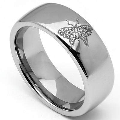 GORGEOUS LASER ENGRAVED BUTTERFLY CARBIDE TUNGSTEN RING wholesalekings wholesale silver jewelry