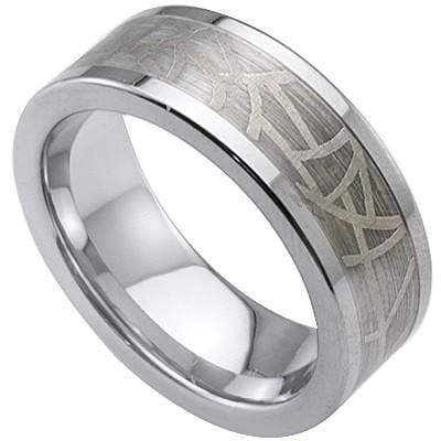 GORGEOUS LASER ENGRAVED  CELTIC  CARBIDE TUNGSTEN RING - Wholesalekings.com