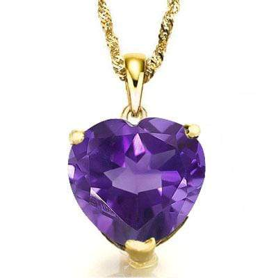 GREAT 0.5 CARAT TW (1 PCS) AMETHYST 10K SOLID YELLOW GOLD PENDANT wholesalekings wholesale silver jewelry