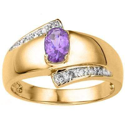GREAT 0.57 CARAT AMETHYST & GENUINE DIAMOND 24K GOLD PLATED SILVER RING wholesalekings wholesale silver jewelry