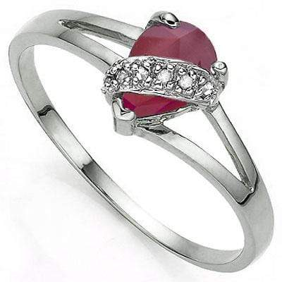 GREAT 0.58 CT GENUINE RUBY & 2 PCS GENUINE DIAMOND PLATINUM OVER 0.925 STERLING SILVER RING - Wholesalekings.com