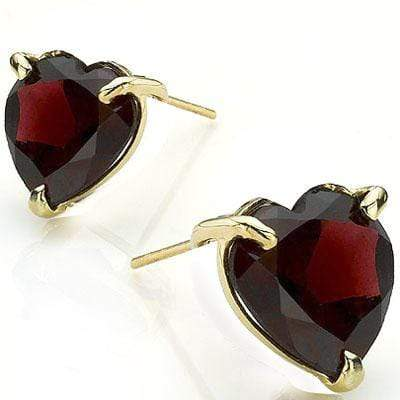 GREAT 0.9 CARAT TW (2 PCS) GARNET 10K SOLID YELLOW GOLD EARRINGS - Wholesalekings.com
