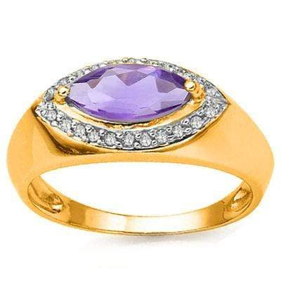 GREAT 1.05 CARAT AMETHYST & GENUINE DIAMOND CRAFTED IN 24K GOLD PLATED SILVER RING - Wholesalekings.com