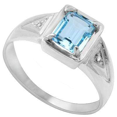 GREAT 1.17 CARAT TW  BLUE TOPAZ & GENUINE DIAMOND PLATINUM OVER 0.925 STERLING SILVER RING - Wholesalekings.com