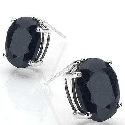GREAT 11.26 CT GENUINE BLACK SAPPHIRE 10K SOLID WHITE GOLD EARRINGS - Wholesalekings.com