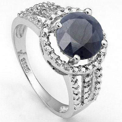 GREAT 2.345 CARAT TW DYED GENUINE SAPPHIRE & GENUINE DIAMOND PLATINUM OVER 0.925 STERLING SILVER RING - Wholesalekings.com
